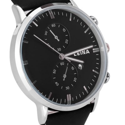 Leina 1572 Men Quartz Watch Decorative Non - functioning Sub - dials Day Round Dial Genuine Leather StrapMens Watches<br>Leina 1572 Men Quartz Watch Decorative Non - functioning Sub - dials Day Round Dial Genuine Leather Strap<br><br>Watches categories: Male table<br>Watch style: Business<br>Available color: Black, Brown<br>Movement type: Quartz watch<br>Shape of the dial: Round<br>Display type: Pointer<br>Case material: Stainless steel<br>Case color: Silver<br>Band material: Genuine leather<br>Clasp type: Pin buckle<br>Special features: Decorating small two stitches<br>Water Resistance: Life water resistant<br>The dial thickness: 1.0 cm / 0.4 inches<br>The dial diameter: 4.3 cm / 1.7 inches<br>The band width: 2.0 cm / 0.8 inches<br>Product weight: 0.051 kg<br>Product size (L x W x H): 25.5 x 4.3 x 1.0 cm / 10.0 x 1.7 x 0.4 inches<br>Package Contents: 1 x Watch