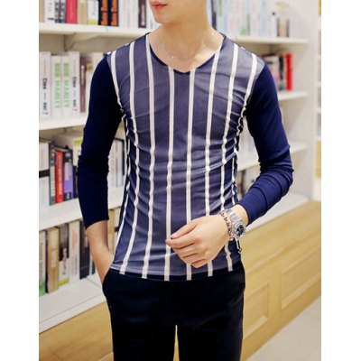 Гаджет   Casual Style V-Neck Long Sleeves Stripes Print Color Block Personality Gauze Design Slimming Men