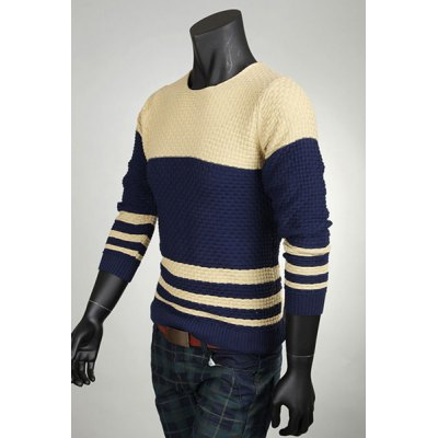 Гаджет   Stylish Slimming Round Neck Color Block Splicing Long Sleeves Men