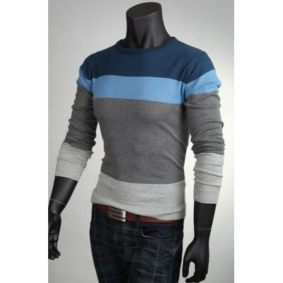 ФОТО Simple Style Round Neck Slimming Color Lump Splicing Long Sleeves Men