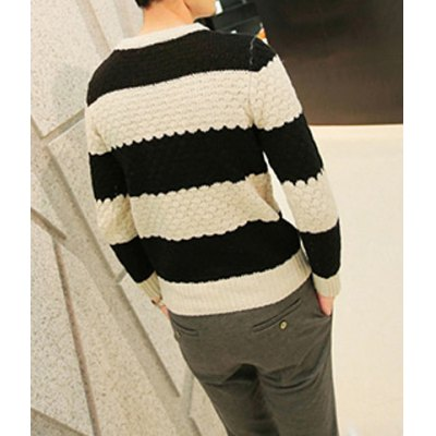Гаджет   Casual Style Round Neck Long Sleeves Thick Stripes Print Slimming Men