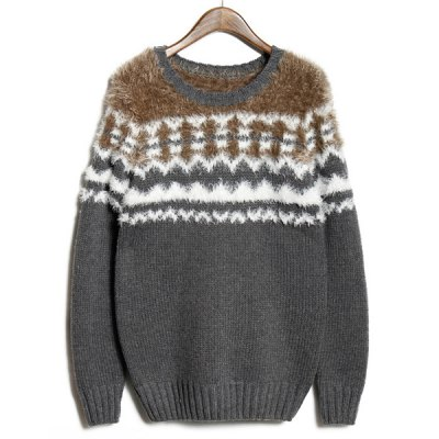 Гаджет   Stylish Round Neck Slimming Hit Color Mohair Jacquard Long Sleeve Cotton Blend Sweater For Men Sweaters & Cardigans