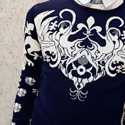 Гаджет   Stylish Personality Totem Embroidery Embellished Round Neck Slimming Long Sleeves Men