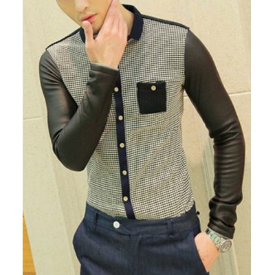 Гаджет   Casual Style Slimming Turn-down Collar Long Sleeves Leather Splicing Design Knitting Pocket Houndstooth Print Men