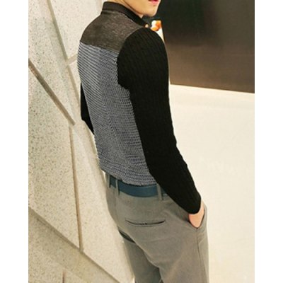ФОТО Fashionable Slimming Color Block Design Turn-down Collar Knitted Long Sleeves Splicing Men
