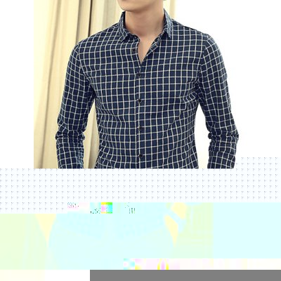 Гаджет   Casual Style Turn-down Collar Slimming Classic Checked Print Long Sleeves Men