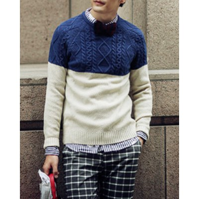 Гаджет   Casual Style Slimming Long Sleeves Round Neck Personality Rhombus and Twist Print Color Block Men