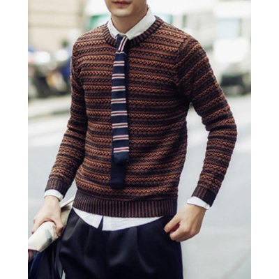 Гаджет   Casual Style Slimming Long Sleeves Round Neck Personality Stripes Knitting Men
