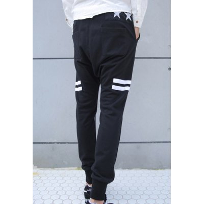 Гаджет   Trendy Lace-Up Narrow Feet Stripes and Five-Pointed Star Print Slimming Men