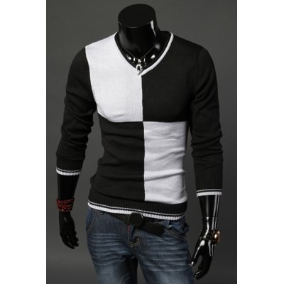 ФОТО Stylish V-Neck Slimming Color Block Splicing Design Long Sleeve Cotton Sweater For Men