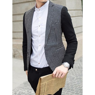Гаджет   Stylish Lapel Slimming Hit Color Polka Dots Splicing Long Sleeve Polyester Blazer For Men