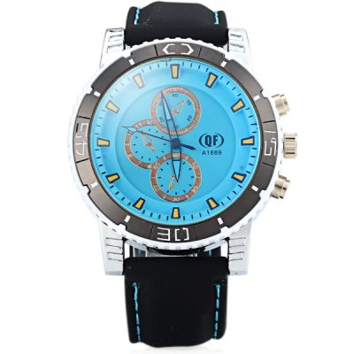 QF A1669 Male Quartz Watch Round Dial Decorative Non - functioning Sub - dials Rubber Wristband