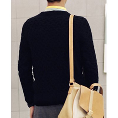 Гаджет   Casual Style Slimming Long Sleeves Round Neck Cross Knitting Solid Color Men