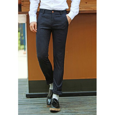 Гаджет   Casual Style Slimming Narrow Feet Zipper Fly Stripes Print Personality Leather Patch Embellished Pockets Men