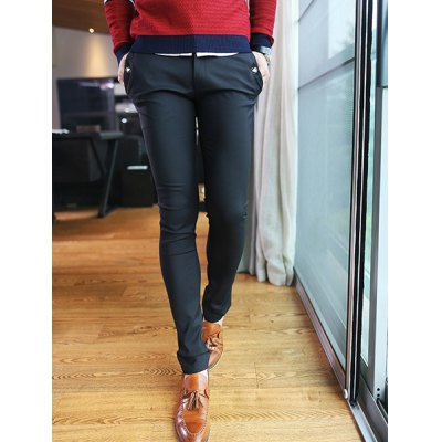 Гаджет   Casual Style Slimming Straight Leg Zipper Fly Solid Color Button Embellished Men