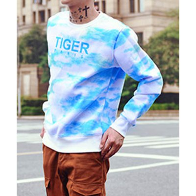 Гаджет   Stylish Round Neck Slimming Thicken Hit Color Letter Printed Long Sleeve Cotton Sweatshirt For Men Hoodies