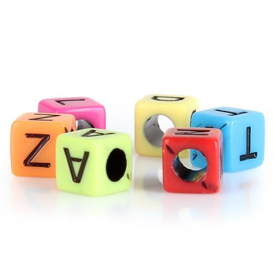 100pcs Multi Color Cube Alphabet Beads DIY Silicone Loom Refills Pendants Accessories от GearBest.com INT