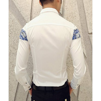 Гаджет   Casual Style Turn-down Collar Slimming Long Sleeves Personality Floral Print Splicing Men