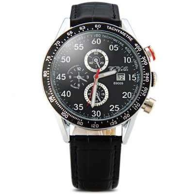 Гаджет   WeiyaQi 89009 Male Quartz Watch Round Dial Day Decorative Non - functioning Sub - dials Leather Strap Men