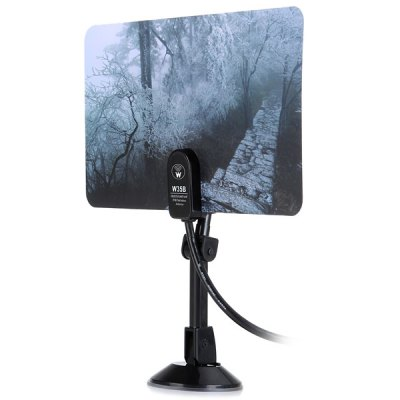 Гаджет   W35B 35dB High Stability Digital HD DTV UHF VHF FM Flat Indoor Booster Antenna with Rotate 360 Degree  -  Mountain Huang Style