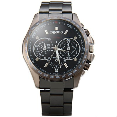 Гаджет   Diniho 8015G Quartz Watch Decorative Non - functioning Sub - dials Round Dial Steel Watchband for Men Men