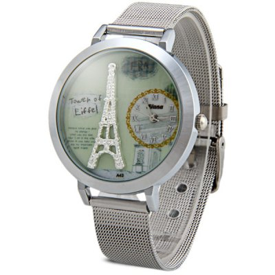 Fiana A43 Female Eiffel Tower Quartz Watch Round Dial Steel Wristband