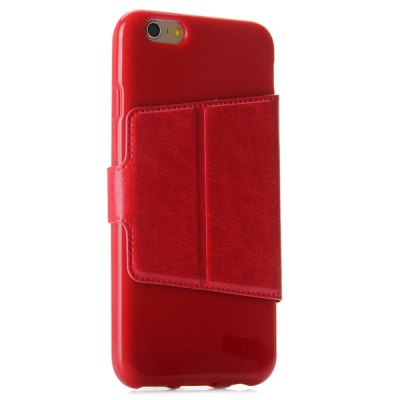 Фотография Magnetic Clip Crazy - horse Leather Phone Case for iPhone 6 with Two Windows and Credit Card Holder