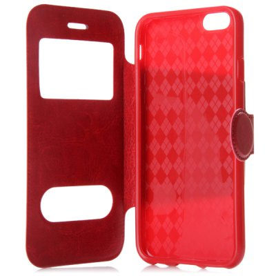 Magnetic Clip Crazy - horse Leather Phone Case for iPhone 6 with Two Windows and Credit Card Holder