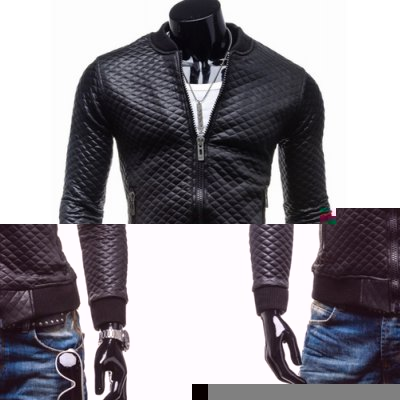 Trendy Slimming Long Sleeves Stand Collar Solid Color Plaid Thicken Zipper Design Men's Leather Jacket