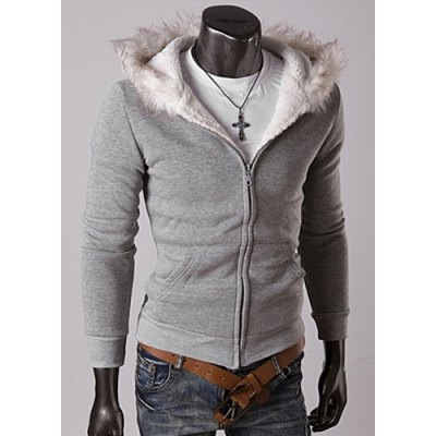 Гаджет   Casual Style Long Sleeves Hooded Personality Fur Embellished Zipper Design Slimming Thicken Men