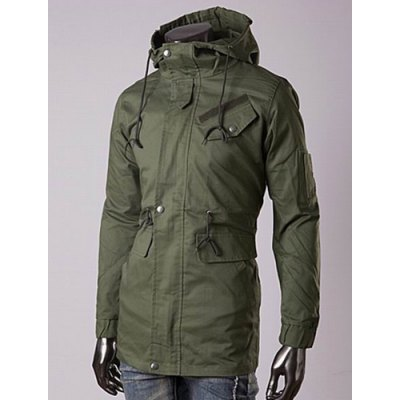 Casual Style Slimming Long Sleeves Hooded Solid Color Drawstring Design Waist Men