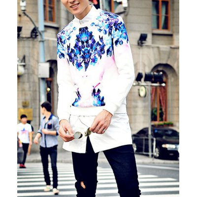 Гаджет   Fashion Style Round Neck Slimming Colorful Personality Print Long Sleeves Men