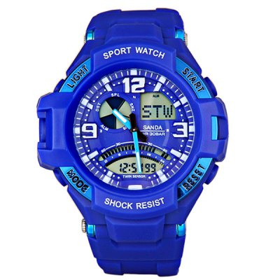 Гаджет   Sanda 280 LED Military Sports Watch Double Time Stopwatch GMT Day Week Sports Watches