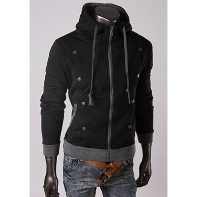 Trendy Long Sleeves Hooded Wrinkle Design Double-Breasted Embellished Solid Color Slimming Mens Cotton HoodiesMens Hoodies &amp; Sweatshirts<br>Trendy Long Sleeves Hooded Wrinkle Design Double-Breasted Embellished Solid Color Slimming Mens Cotton Hoodies<br><br>Material: Cotton<br>Clothing Length: Regular<br>Sleeve Length: Full<br>Style: Fashion<br>Weight: 0.34KG<br>Package Contents: 1 x Hoodies