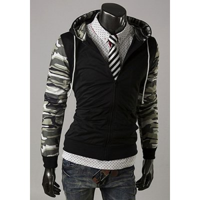 Trendy Long Sleeves Hooded Camo Print Splicing Zipper Design Slimming Mens Cotton Blend HoodiesMens Hoodies &amp; Sweatshirts<br>Trendy Long Sleeves Hooded Camo Print Splicing Zipper Design Slimming Mens Cotton Blend Hoodies<br><br>Material: Polyester, Cotton<br>Clothing Length: Regular<br>Sleeve Length: Full<br>Style: Fashion<br>Weight: 1KG<br>Package Contents: 1 x Hoodies