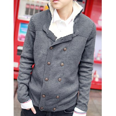 ФОТО Stylish Turndown Collar Slimming Thicken Solid Color Double Breasted Long Sleeve Cotton Blend Cardigan For Men