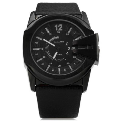 Cagarny 6838 Black Case Quartz Watch with Leather Strap and Blue Numbers Strips for MenMens Watches<br>Cagarny 6838 Black Case Quartz Watch with Leather Strap and Blue Numbers Strips for Men<br><br>Watches categories: Male table<br>Watch style: Fashion<br>Style elements: Big dial<br>Available color: Coppery, Blue, Silver<br>Movement type: Quartz watch<br>Shape of the dial: Round<br>Display type: Pointer<br>Watch-head: Ordinary<br>Case material: Stainless steel<br>Case color: Black<br>Band material: Genuine leather<br>Clasp type: Pin buckle<br>Band color: Black<br>Special features: Calendar<br>Waterproof: Life water resistant<br>The dial thickness: 1.2 cm / 0.47 inches<br>The dial diameter: 4.7 cm / 1.85 inches<br>The band width: 2.9 cm / 1.14 inches<br>Product weight: 0.094 kg<br>Package weight: 0.23 kg<br>Product size (L x W x H): 26 x 4.8 x 1.2 cm / 10.24 x 1.89 x 0.47 inches<br>Package size (L x W x H): 28 x 7 x 2 cm<br>Package Contents: 1 x Watch