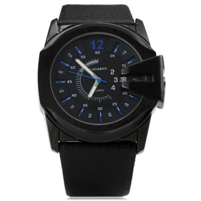 Cagarny 6838 Black Case Quartz Watch with Leather Strap and Blue Numbers Strips for MenMens Watches<br>Cagarny 6838 Black Case Quartz Watch with Leather Strap and Blue Numbers Strips for Men<br><br>Watches categories: Male table<br>Watch style: Fashion<br>Style elements: Big dial<br>Available color: Blue, Silver, Coppery<br>Movement type: Quartz watch<br>Shape of the dial: Round<br>Display type: Pointer<br>Watch-head: Ordinary<br>Case material: Stainless steel<br>Case color: Black<br>Band material: Genuine leather<br>Clasp type: Pin buckle<br>Band color: Black<br>Special features: Calendar<br>Waterproof: Life water resistant<br>The dial thickness: 1.2 cm / 0.47 inches<br>The dial diameter: 4.7 cm / 1.85 inches<br>The band width: 2.9 cm / 1.14 inches<br>Product weight: 0.094 kg<br>Package weight: 0.23 kg<br>Product size (L x W x H): 26 x 4.8 x 1.2 cm / 10.24 x 1.89 x 0.47 inches<br>Package size (L x W x H): 28 x 7 x 2 cm<br>Package Contents: 1 x Watch