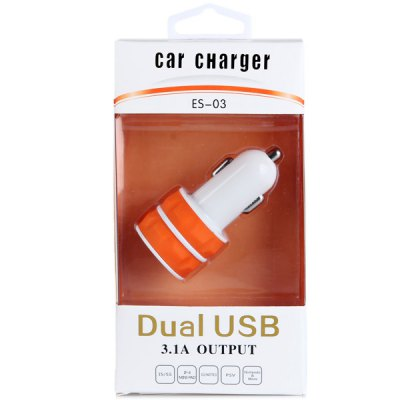 Portable ES - 03 5V 1A / 2.1A Dual USB Output Car Charger for Tablet PC MP3 MP4 PDA Samrtphones от GearBest.com INT