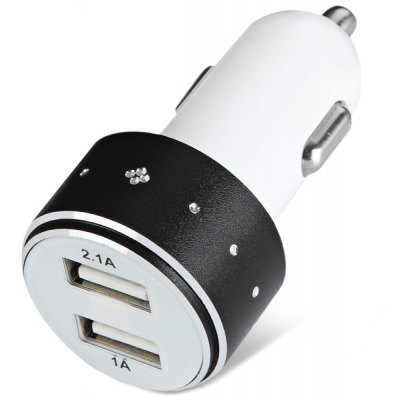 Portable ES - 06 5V 1A / 2.1A Dual USB Output Car Charger with LED Display for Tablet PC MP4 PDA Samrtphones