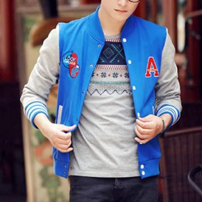 Гаджет   Casual Style Long Sleeves Stand Collar Snap Fastener Design Color Block Letters Print Slimming Men