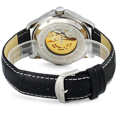 Фотография Gucamel G027 Men Automatic Mechanical Watch Genuine Leather Band Round Dial