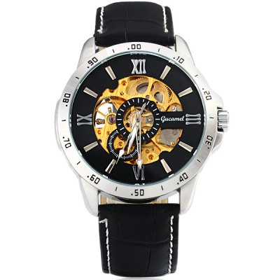 ФОТО Gucamel G027 Men Automatic Mechanical Watch Genuine Leather Band Round Dial