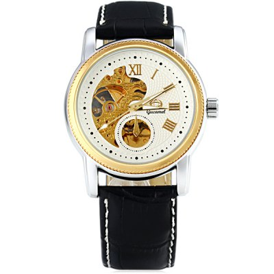 ФОТО Gucamel G004 Automatic Mechanical Watch Round Dial Genuine Leather Watchband for Men