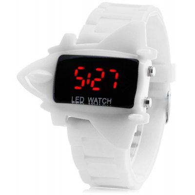 ZX - 1230 LED Sports Watch Christmas Present Airplane Shape Red Light Chronograph Rubber Watchband