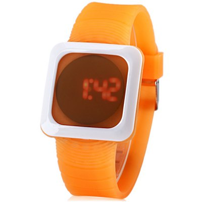ZX - 1250 LED Sports Watch Xmas Gift Red Light Chronograph Rubber Watchband