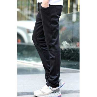 Гаджет   Casual Style Straight Leg Zipper Fly Slimming Solid Color Wrinkle Design Men
