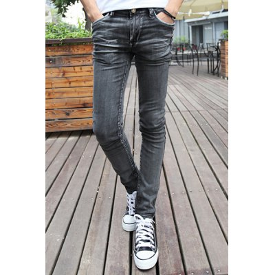 Гаджет   Casual Style Narrow Feet Zipper Fly Solid Color Slimming Elasticity Men