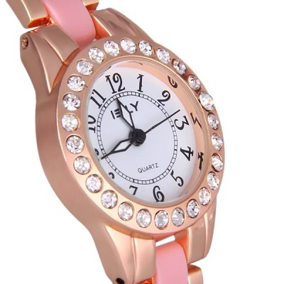 IE - LY M211 Female Quartz Diamond Watch Round Dial Steel + Plastic Watchband BraceletWomens Watches<br>IE - LY M211 Female Quartz Diamond Watch Round Dial Steel + Plastic Watchband Bracelet<br><br>Watches categories: Female table<br>Available color: Pink, Black, White<br>Style : Fashion&amp;Casual<br>Movement type: Quartz watch<br>Display type: Pointer<br>Case material: Stainless steel<br>Case color: Gold<br>Band material: Plastic and steel<br>Clasp type: Buckle<br>The dial thickness: 0.7 cm / 0.3 inches<br>The dial diameter: 3.0 cm / 1.2 inches<br>The band width: 1.2 cm / 0.5 inches<br>Product weight: 0.044 kg<br>Product size (L x W x H) : 21.5 x 3.0 x 0.7 cm / 8.5 x 1.2 x 0.3 inches<br>Package contents: 1 x Watch