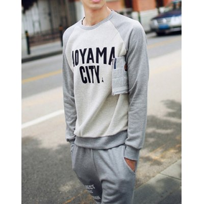 Гаджет   Casual Style Slimming Long Sleeves Round Neck Letters Print Men